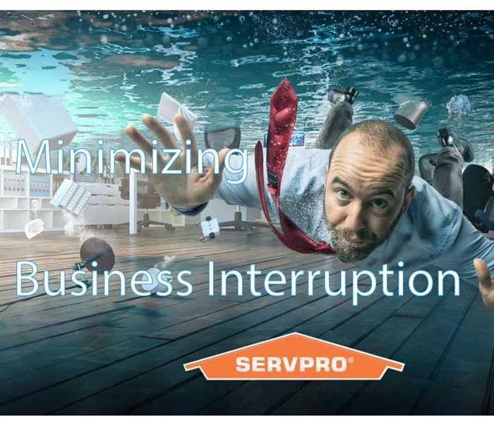 "Man Underwater in an office white text: ""Minimize business interruption"""