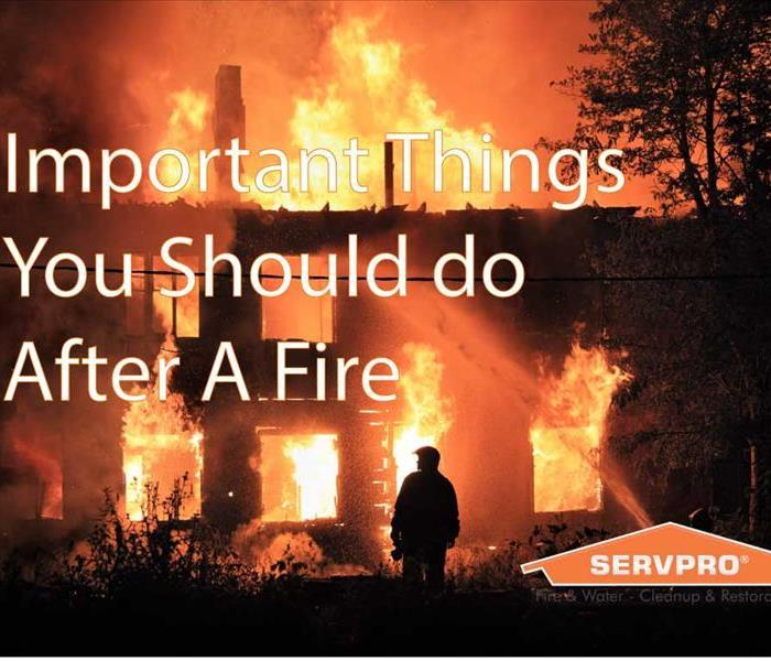 "House on fire with white text saying, ""Important things to do after a fire"""